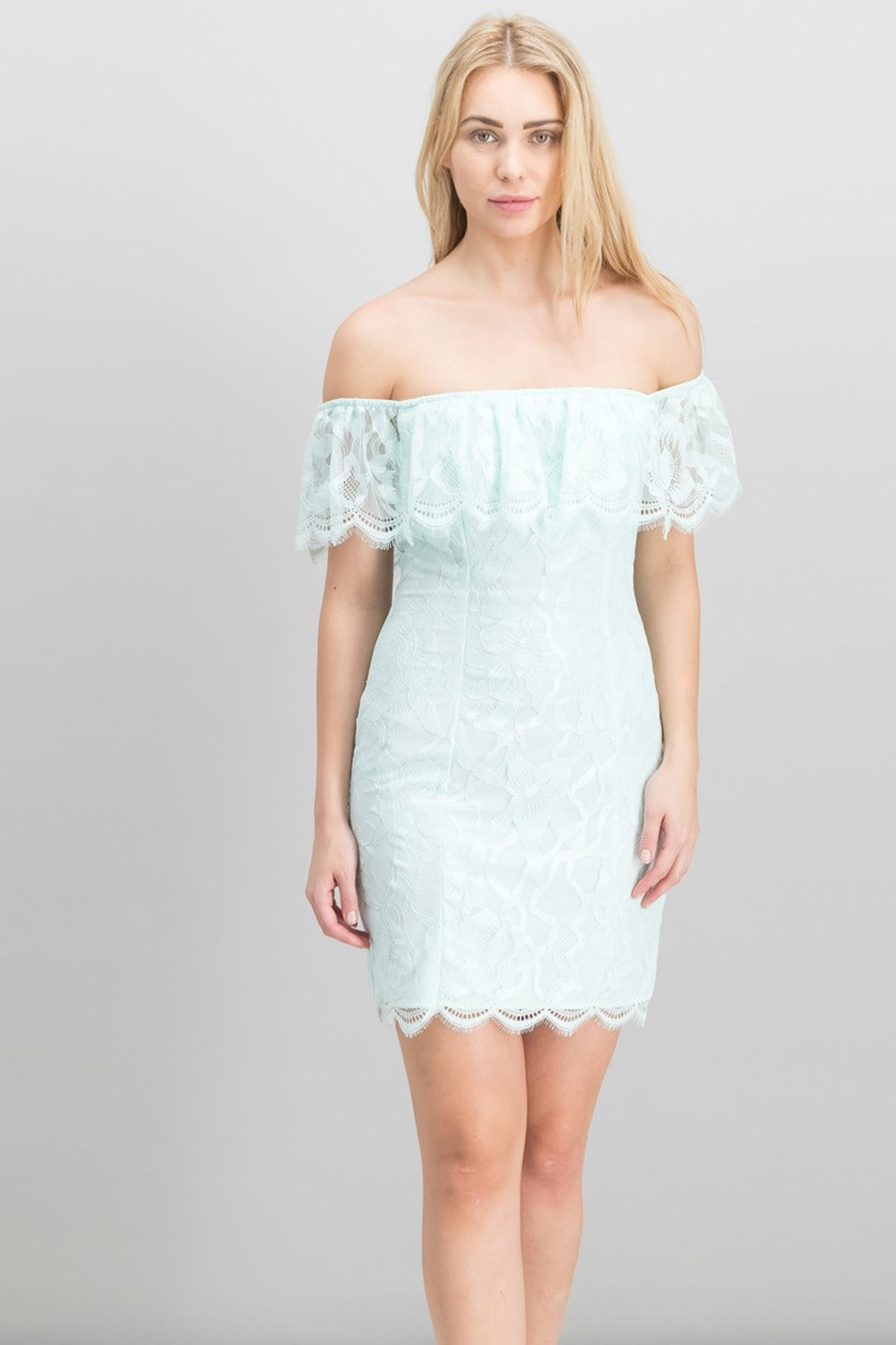 Francine Off-The-Shoulder Lace Dress, Soothing Sea