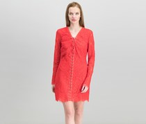 Guess Women's Lace-Up Lace Mini Dress, Flame Scarlet