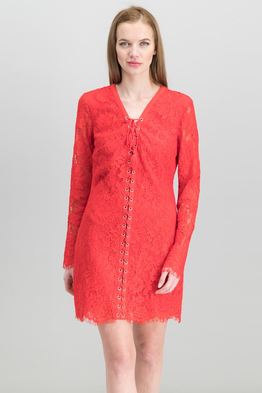 Women's Lace-Up Lace Mini Dress, Flame Scarlet