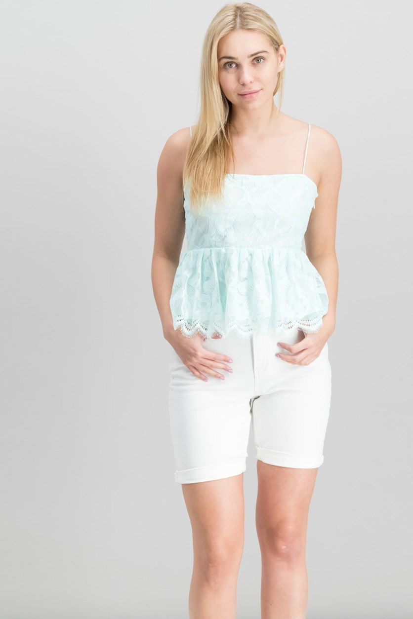 Women Francine Lace Peplum Top, Soothing Sea