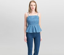 Guess Women's Francine Denim Peplum Top, Medium Wash