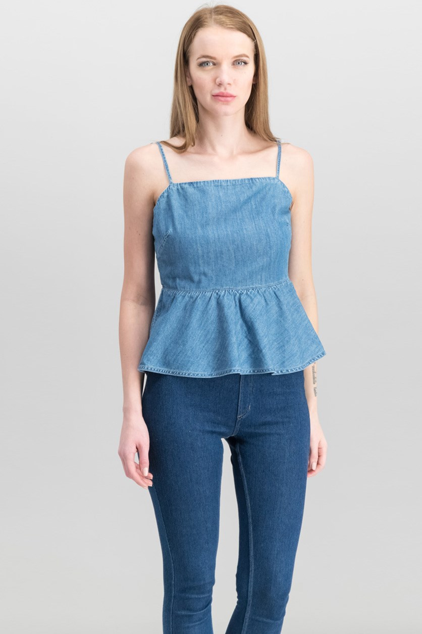 Women's Francine Denim Peplum Top, Medium Wash