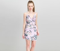 Guess Women's Tropical Iris Ruched Bodycon Dress, Lavender