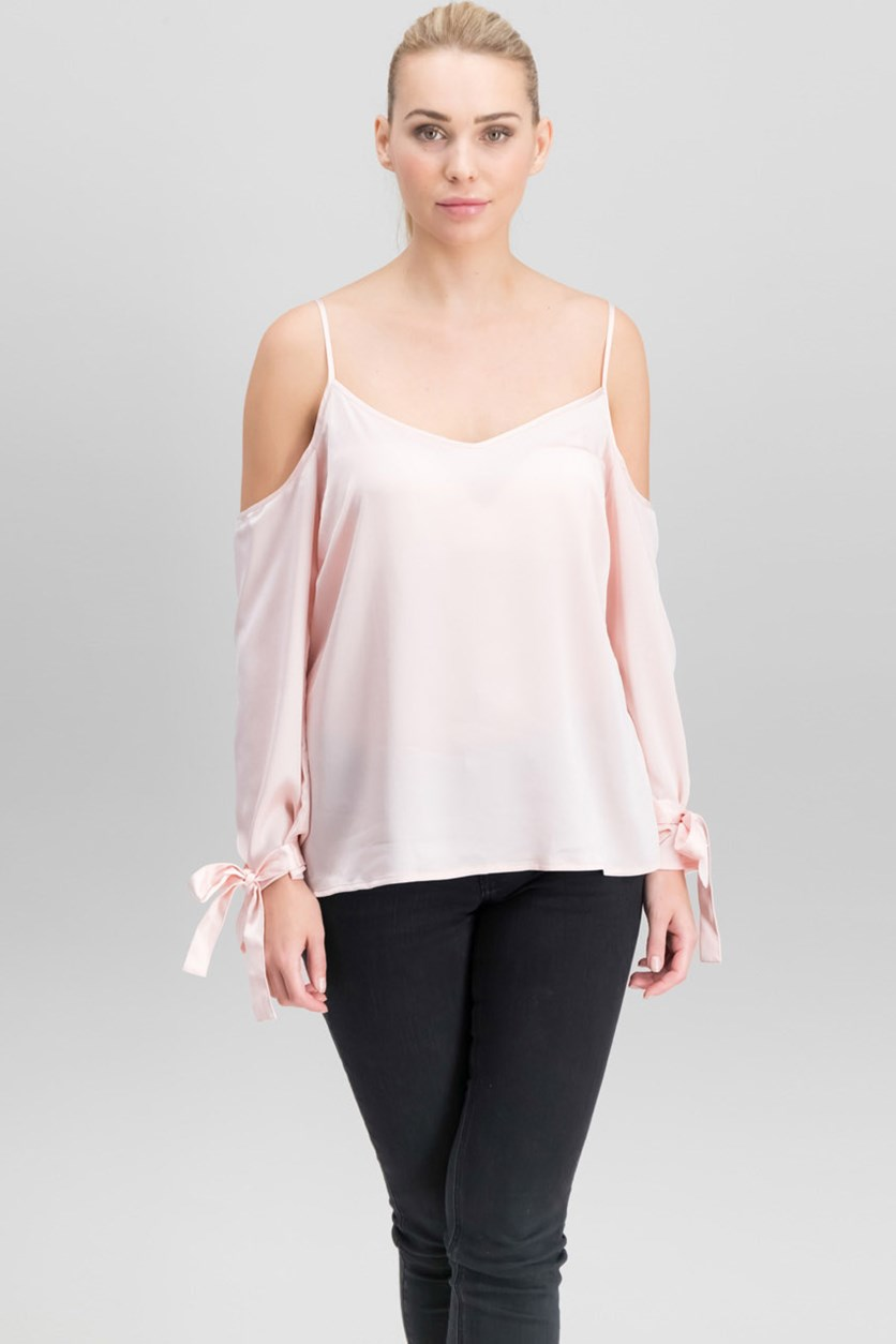 Women Tie-Sleeve Cold-Shoulder Blouse, Blossom
