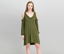 Kensie Women Ruffled Cold-Shoulder Dress, Pine Green