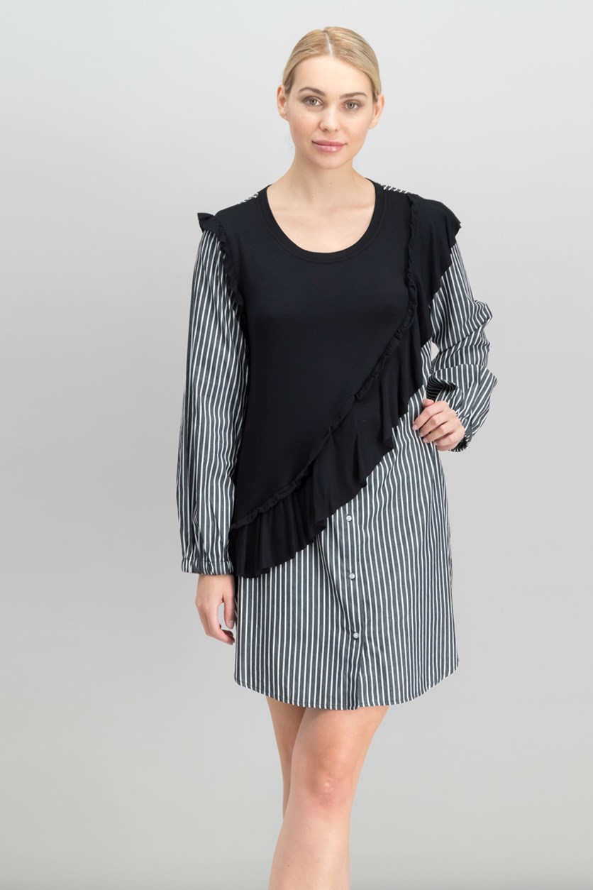 Women  Knit Ruffle Striped Shirtdress, Black Combo