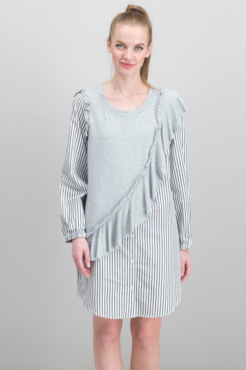 Women Knit Ruffle Striped Shirtdress, Heather Light Grey