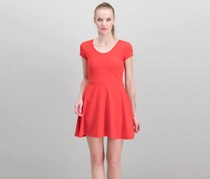 Women Juniors Cap-Sleeve Dress, Racing Red
