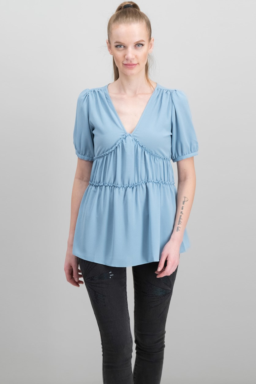 Women's Ruched Top, Chambray