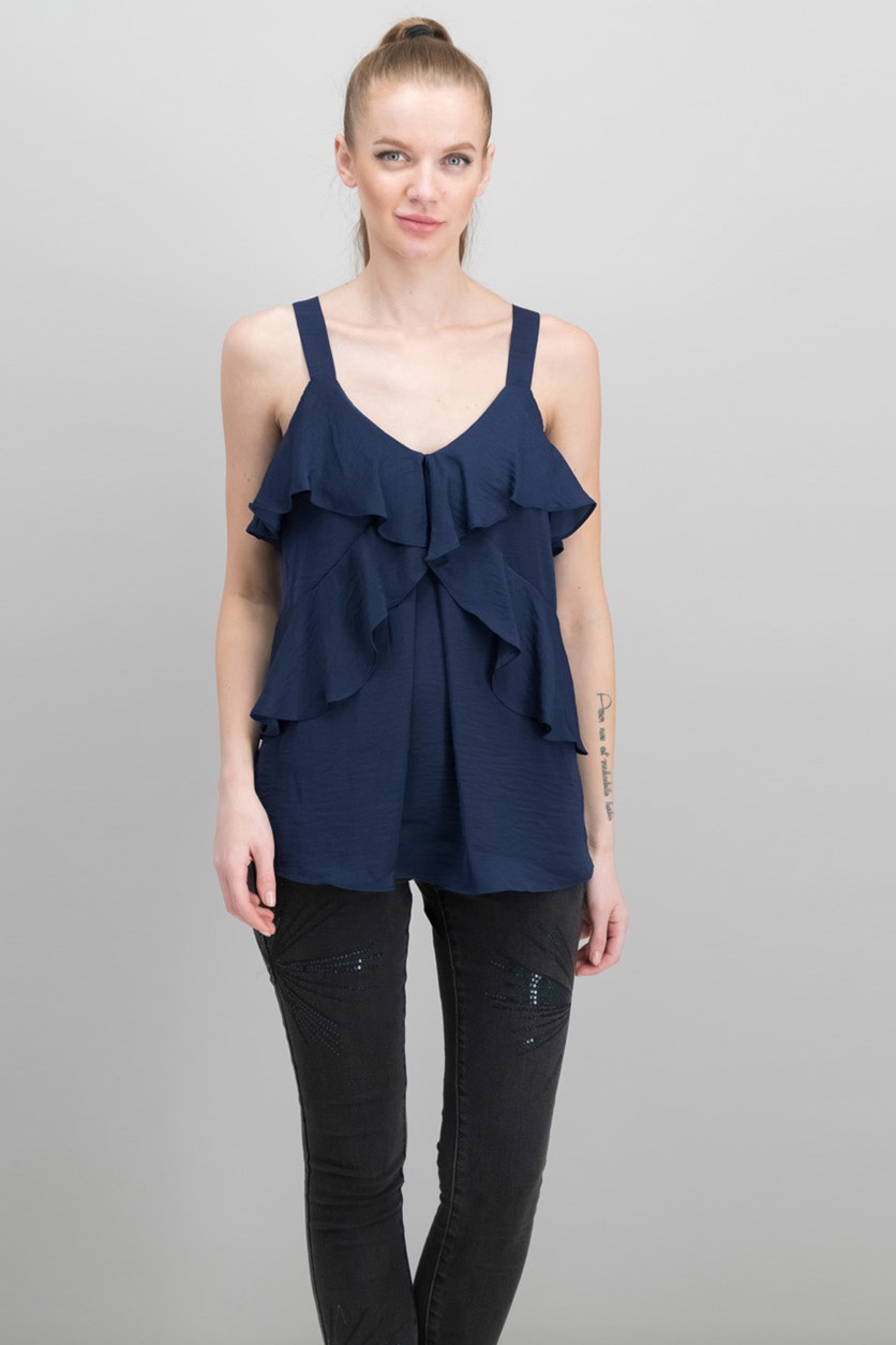 Women's Layered-Tier Sleeveless Top, True Navy