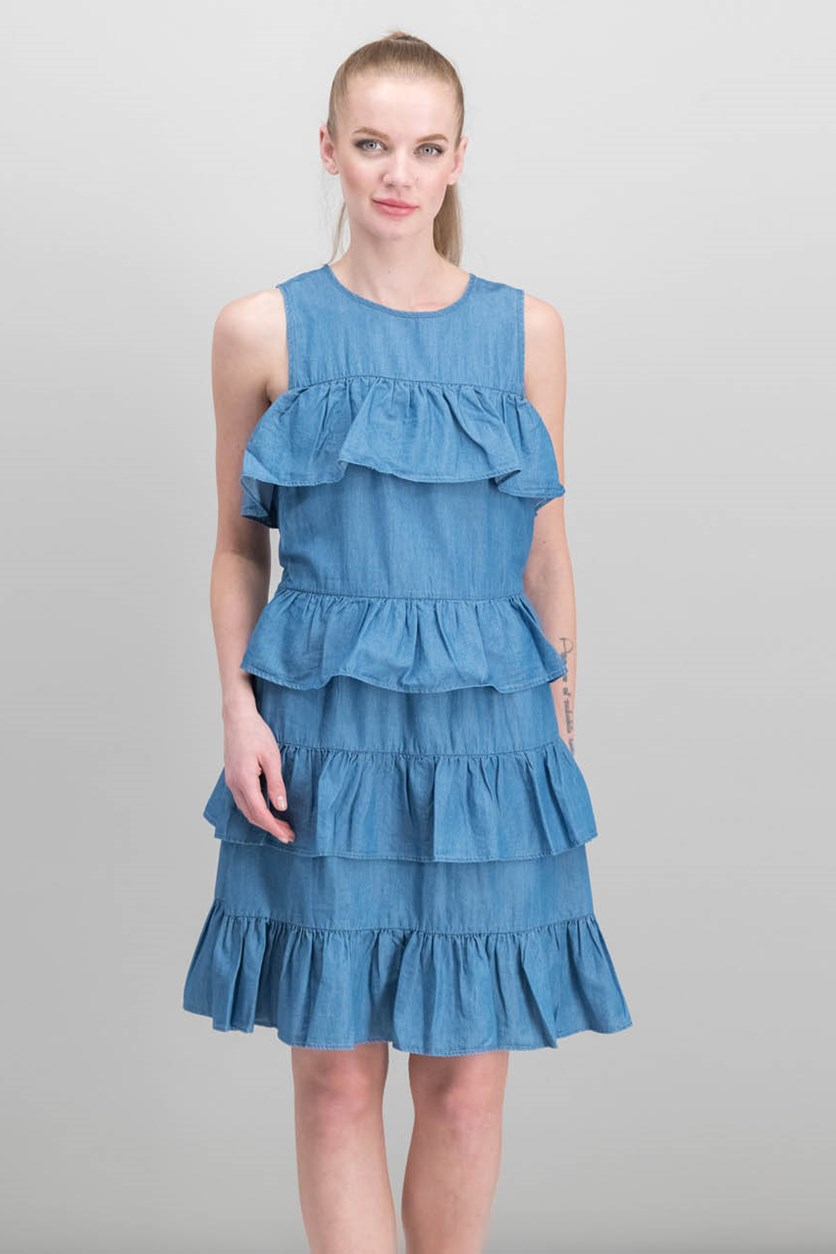 Ruffle Flounce Dress, Chambray