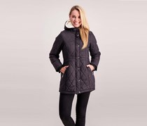 Steve Madden Women's Guilted Anorak With Sherpa Hood Lining, Black