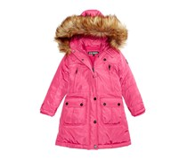 Steve Madden Toddler's Girl's Hooded Parka with Faux-Fur Trim, Pink