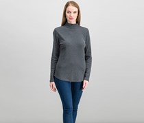 Charter Club Cotton Mock-Neck Top, Charcoal Heather