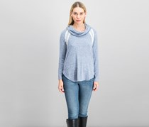 Moa Moa Cowl Neck Top, Pale Blue/Black