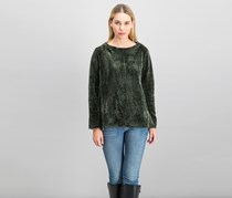 Style & Co. Women's Crew-Neck Chenille Sweater, Dark Ivy