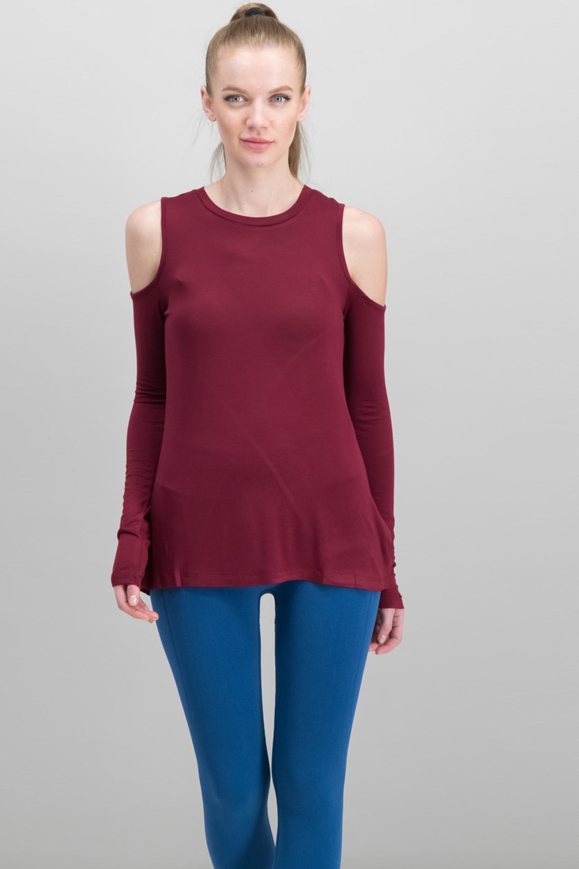 Women's Cold Shoulder Tee, Maroon