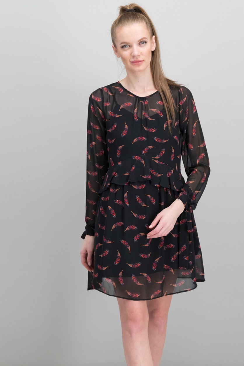 Women's Printed Dress, Black Feather