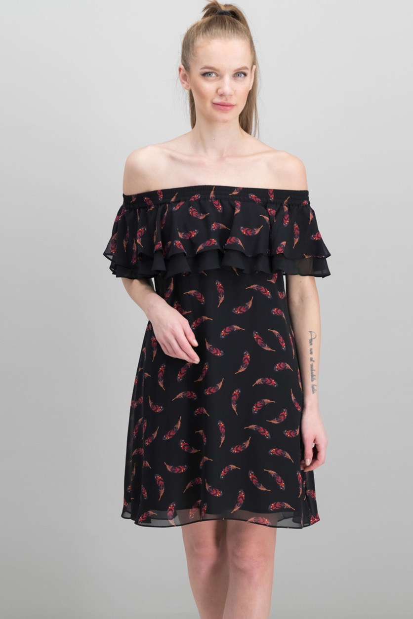 Women's Off-Shoulder Feather Print Dress, Black