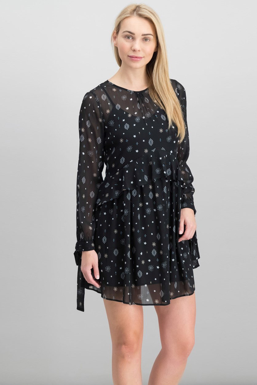 Women's Tie Sleeve Dress, Black Medallion