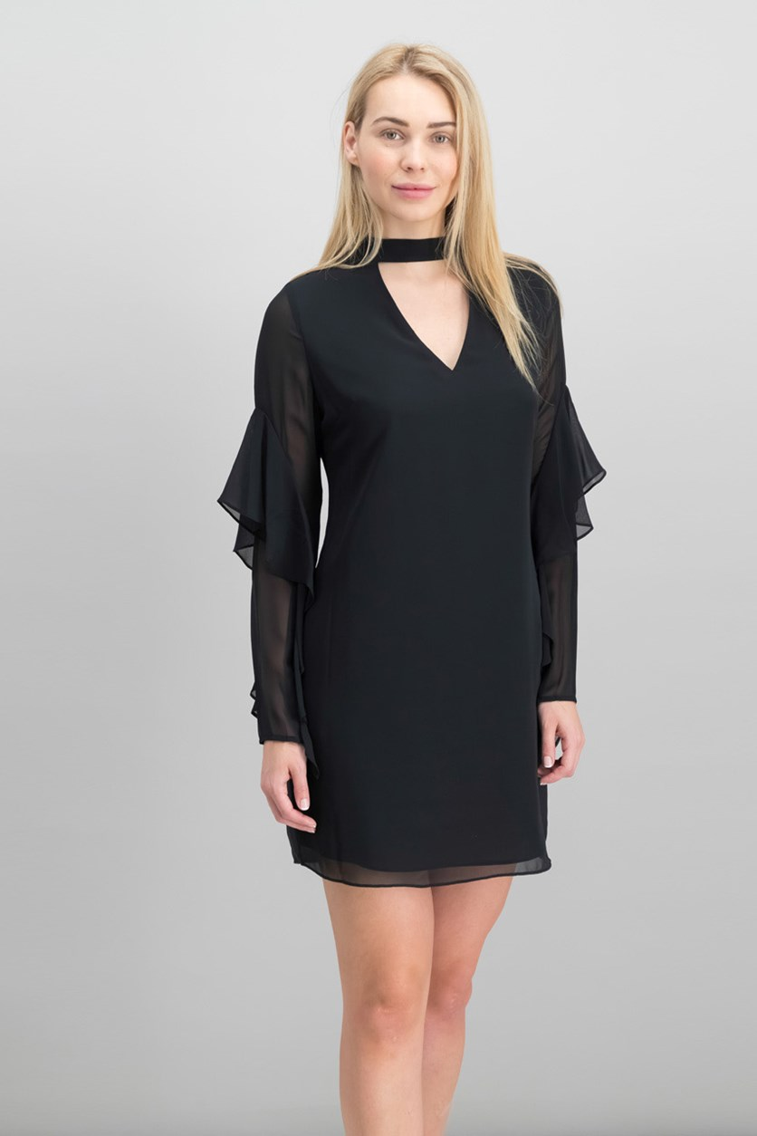 Women's Choker Neck Dress, Black