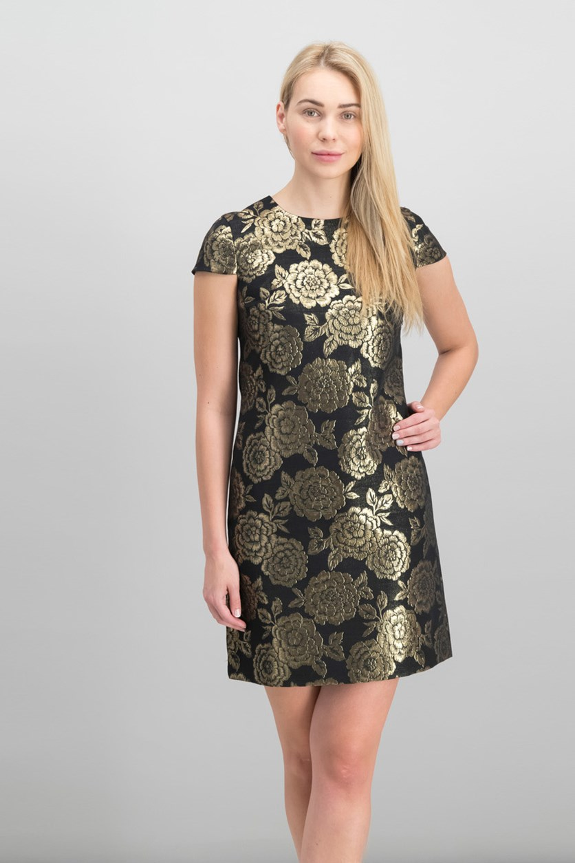 Women's Brocade Cap Sleeve Dress, Black/Gold