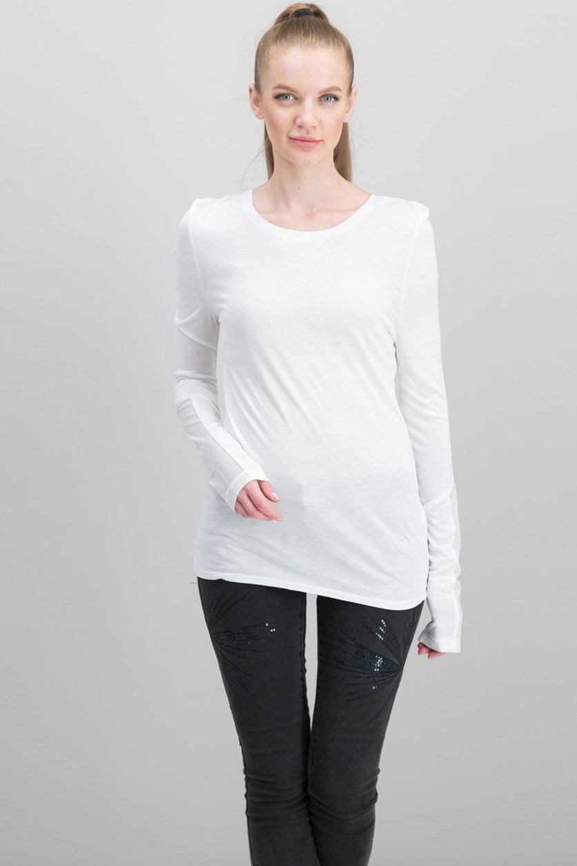 V Mesh Cut Out Long Sleeve Tee, White