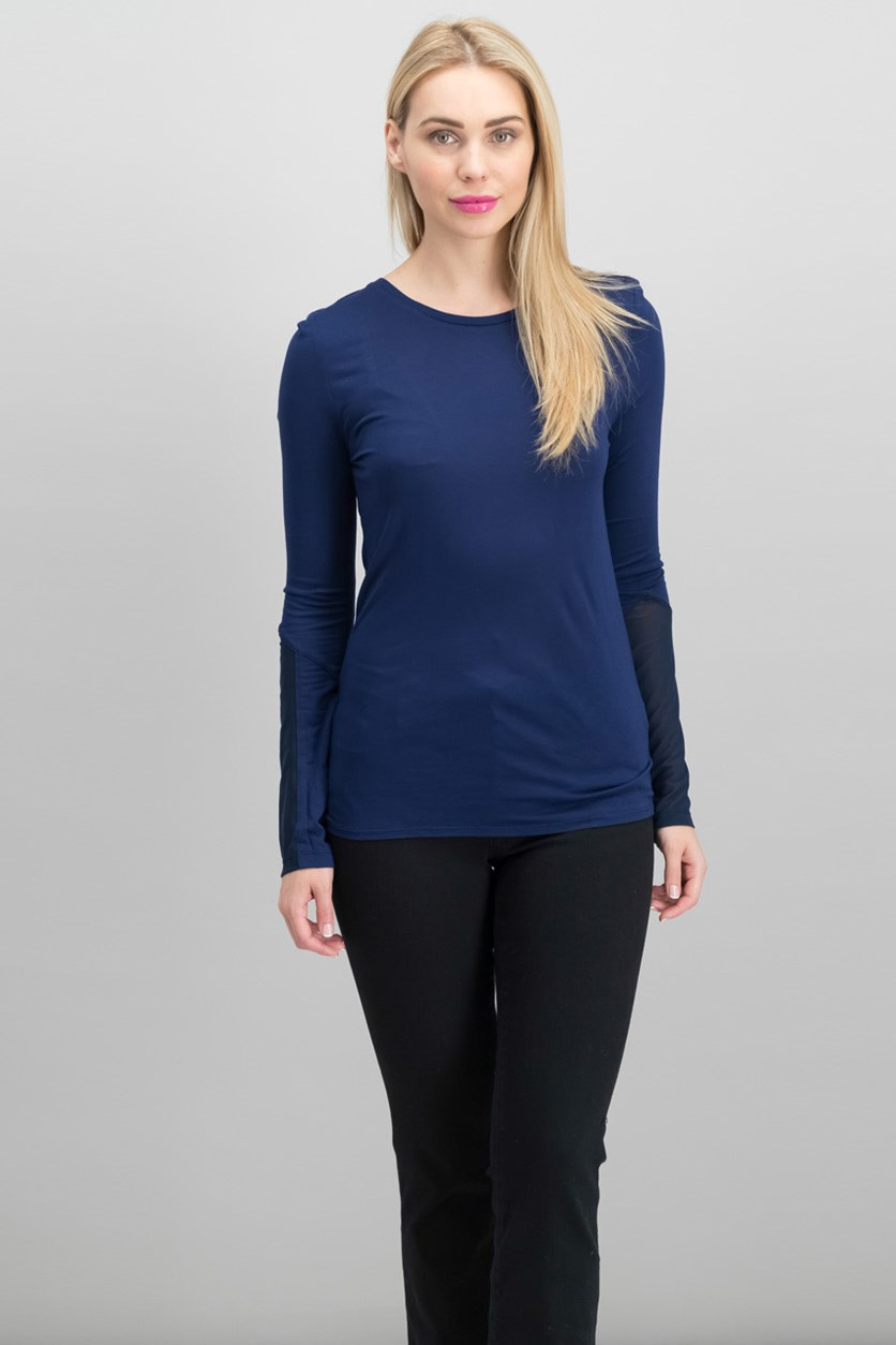 V Mesh Cut Out Long Sleeve Tee, Athletic Blue