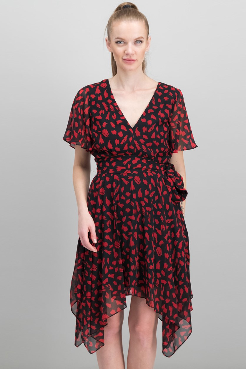 Women's Hankerchief Hem Dress, Black/Red