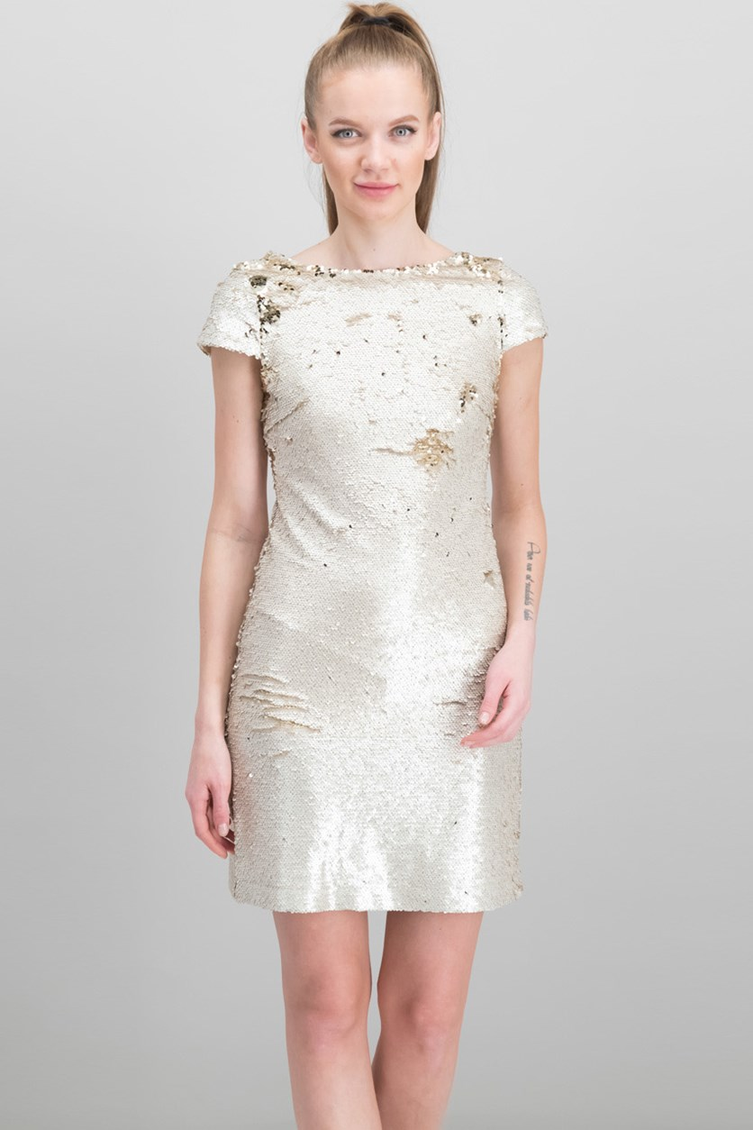 Women's Cap Sleeve Sequin Shift Dress, Beige/Gold