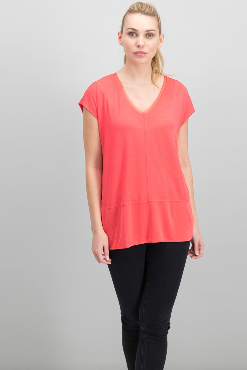 V-Neck Mixed-Media Top, Hibiscus Bloom