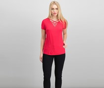 Inc International Concepts Lattice-Neck Top, Real Red