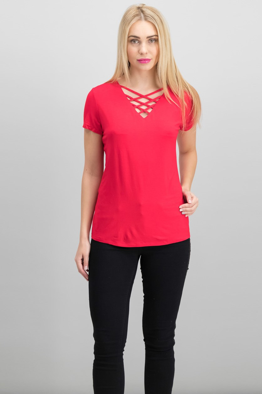 International Concepts Lattice-Neck Top, Real Red
