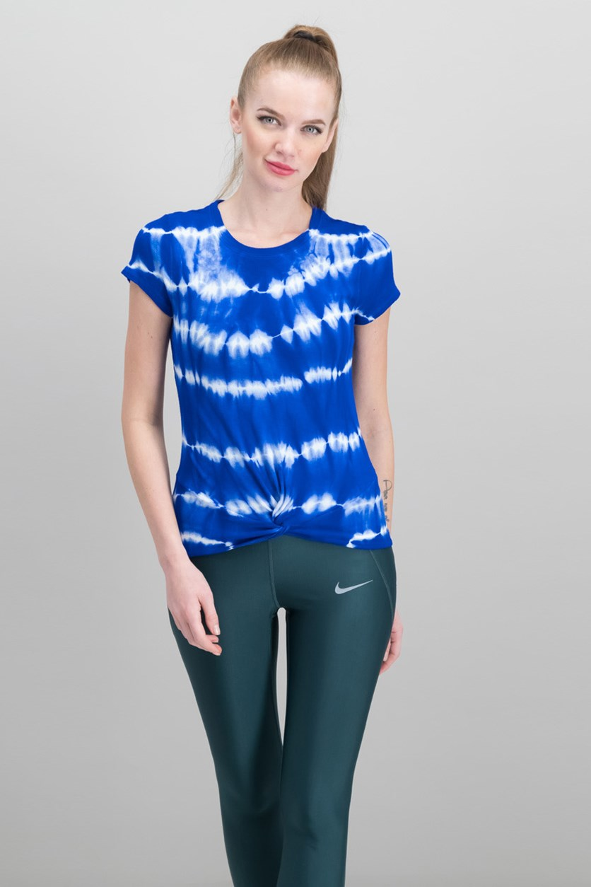 Women Petite Tie-Dyed Twist Top, Bright Blue