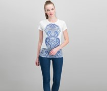 Women Sequined Graphic T-Shirt, Bright White/Blue