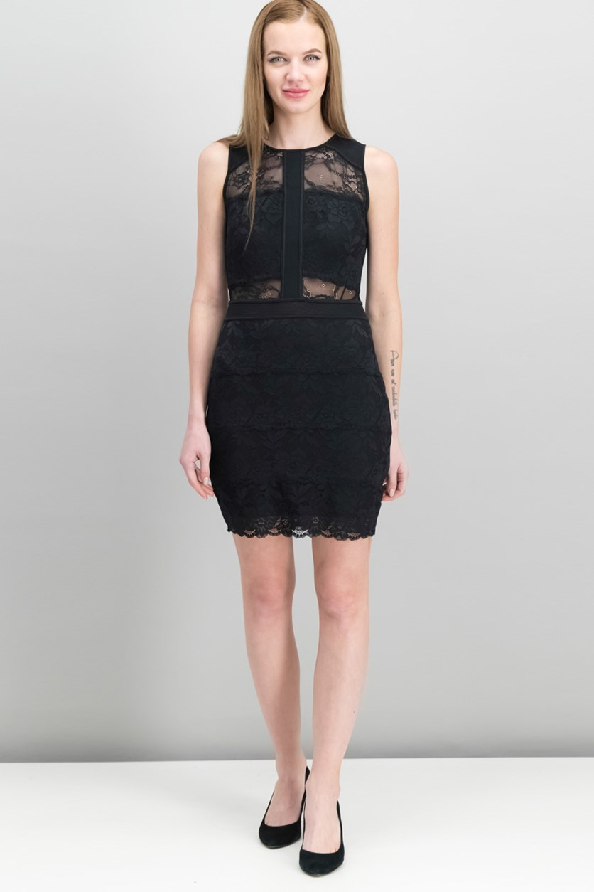 Women Shannon Lace Bodycon Dress, Jet Black