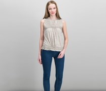 Max Studio London Cotton Pleated Top, Heather Beige