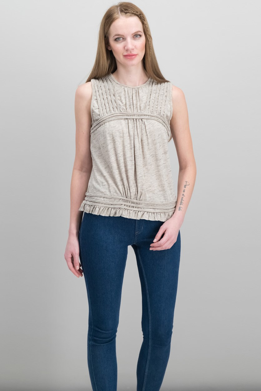 London Cotton Pleated Top, Heather Beige