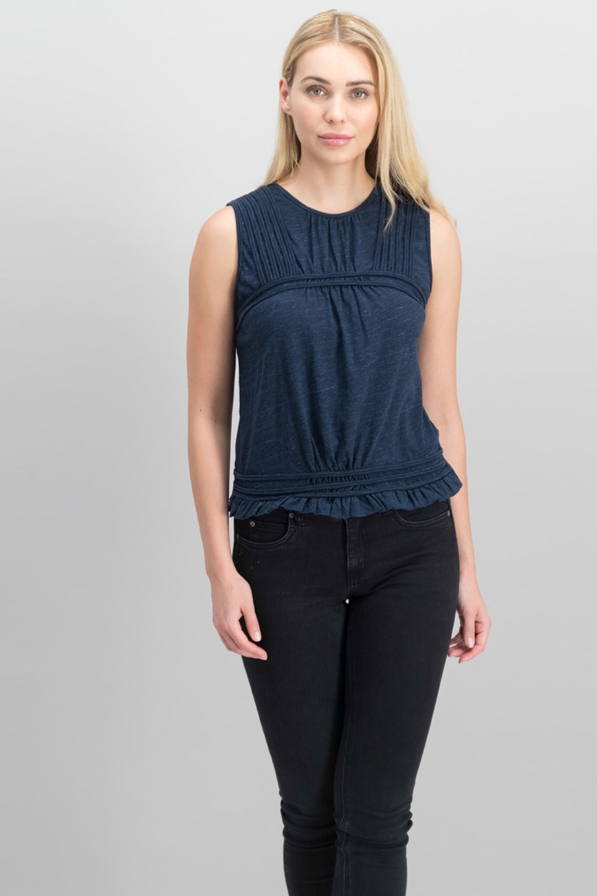 London Cotton Pleated Top, Heather Navy