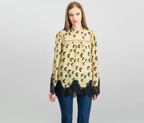 Max Studio London Womens Rebecca Crow Graphic Long Sleeve Peasant Top, Toast Black Ravens