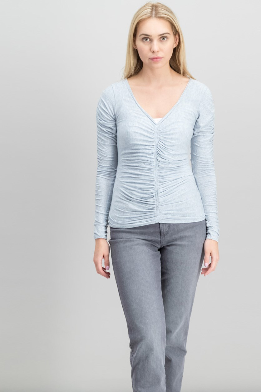 London Long-Sleeve Ruched V-Neck Jersey Top, Heather Blue