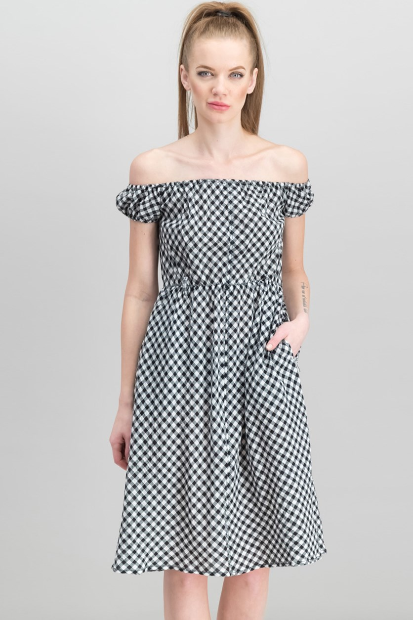 London Check-Print Off-The Shoulder Dress, Cream/Black