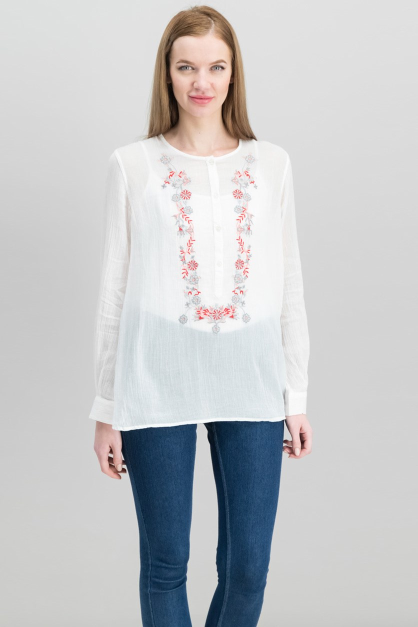 London Cotton Embroidered Blouse, Cream
