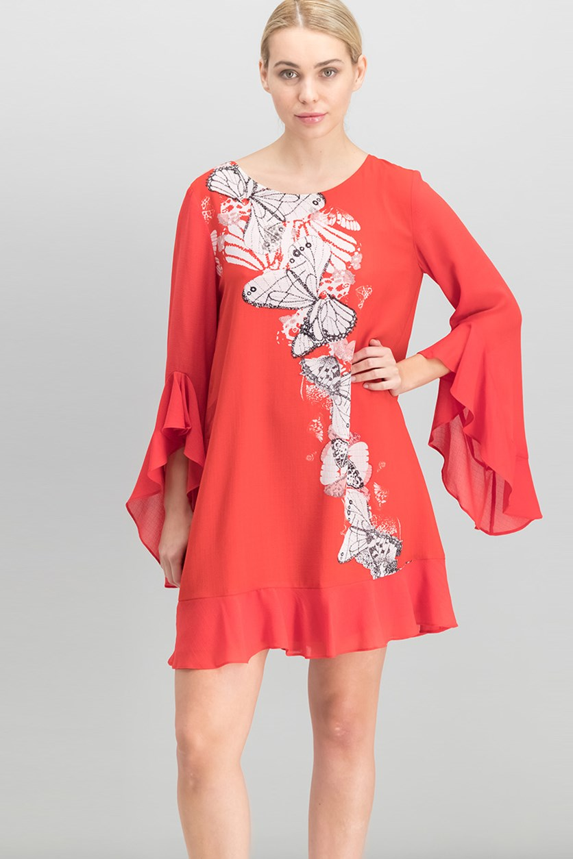 Women Angel-Sleeve Placed-Print Dress, Red Butterfly