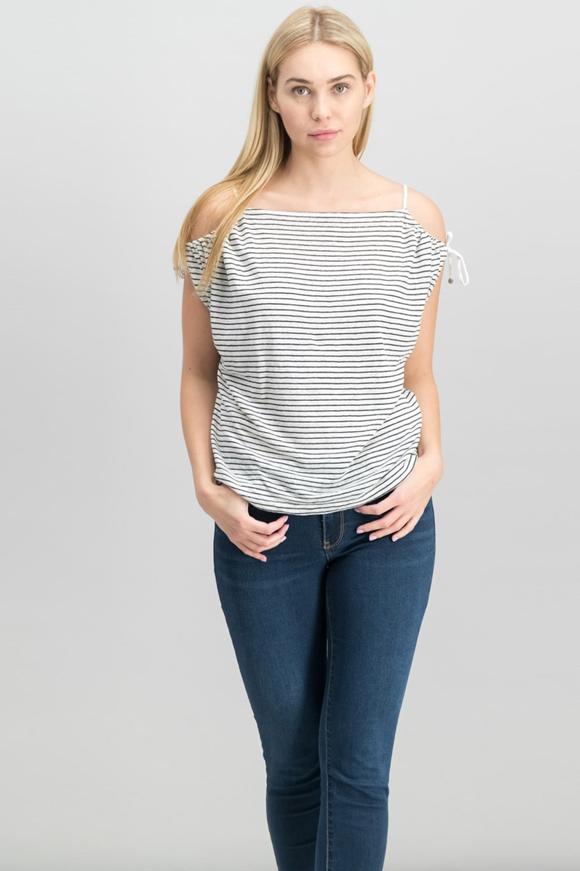 London Striped Cold-Shoulder Top, White/Black