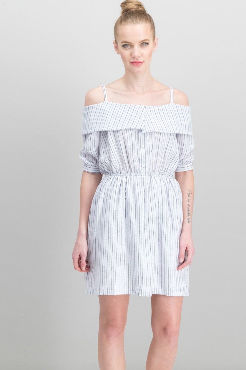 Striped Off-The-Shoulder Dress, Bright White Combo