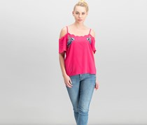 Bcx Juniors' Embroidered Off-The-Shoulder Top, Hot Pink