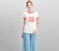Women Cotton More Coffee Ringer Graphic Tee, Natural