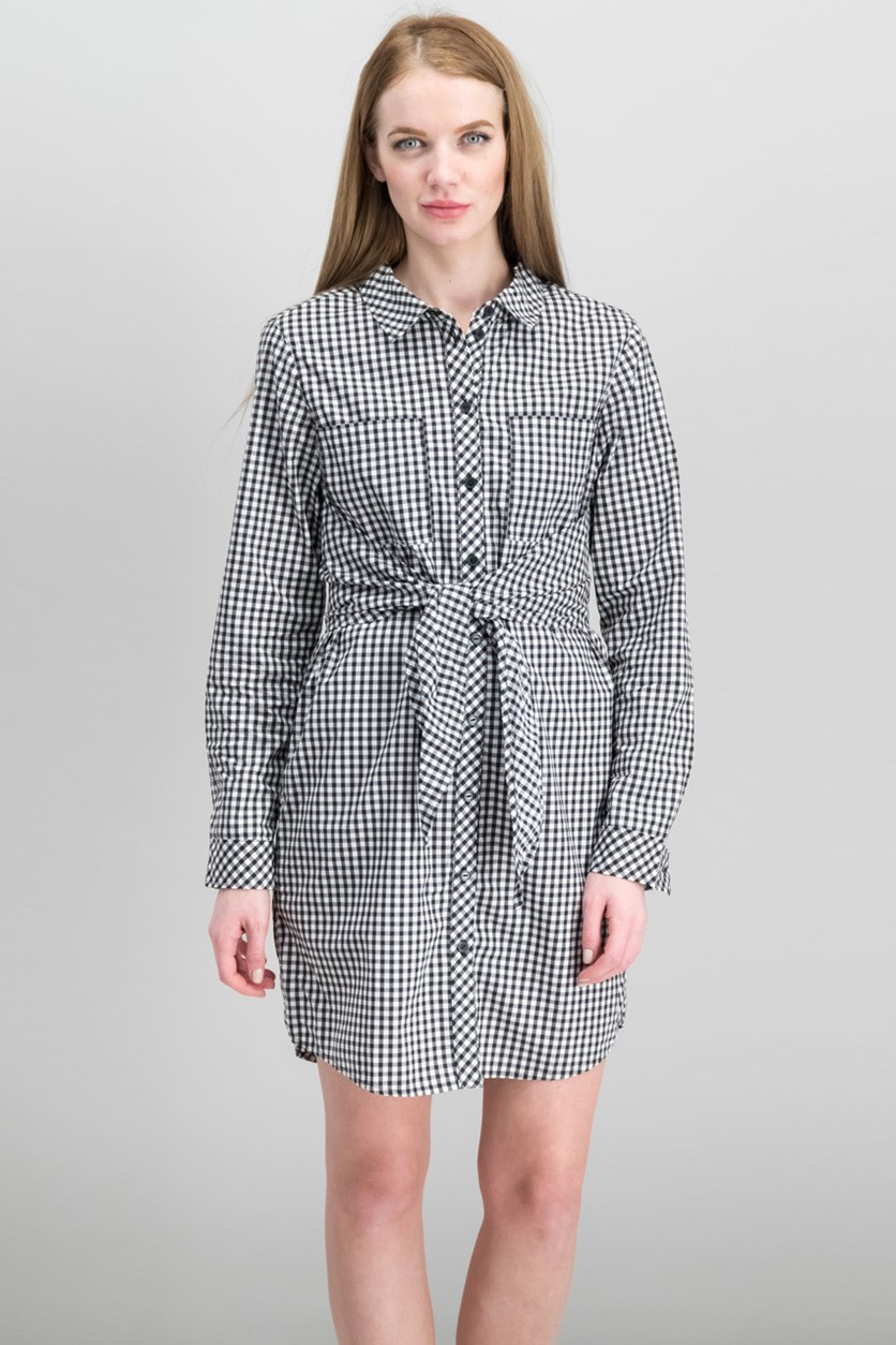 Tali Cotton Belted Shirtdress, Bistro Check