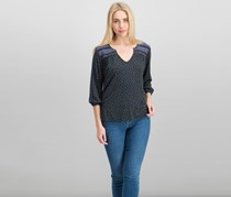 Sanctuary Women's Annabelle Embroidered Top, Black Combo